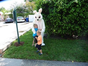 The kids of all ages love the East Bunny who comes hopping down the Walkway Trail.