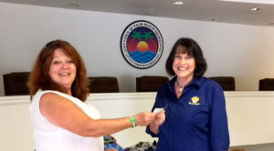Marilyn accepting a check for $1,500.00 for pillowcase materials for Ryan's Case for Smiles for Children's Cancer Hospital Wards in 7 local Hospitals. Marilyn's Chapter made 1060 pillow cases in March 2016 !! Fantastic Smiles for those young Cancer Patients.